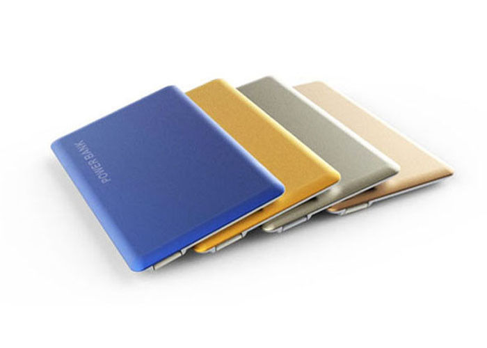 1800 mah Ultra thin credit card fast charging power bank with 4 level LED light